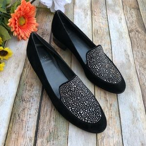 Stuart Weitzman silver studded black suede loafers